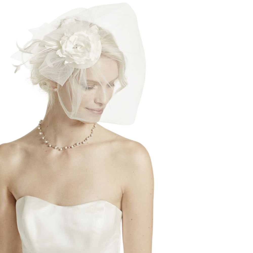 Vintage Hat with Attached Flowers and Blusher Style VH7950, Ivory by David's Bridal