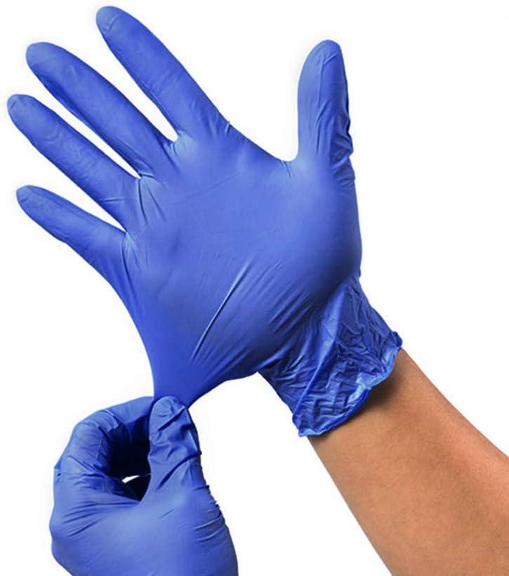 Exceart 40 Pz Guanti Medicali in Nitrile Guanti Protettivi Mani Blu Guanti Monouso per Esami Medici Cucina Sterile Guanti da Lavoro Industriali Taglia L Blu