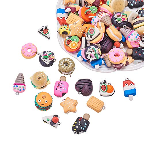 (NBEADS 100PCS Random Mixed Color Shape Handmade Polymer Clay Charms Pendant, Food Loose Beads Spacer Beads Bracelet Necklace Earring Jewelry Making)