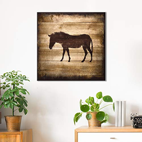 Square Horse Silhouette on Rustic Wood Board Texture Background