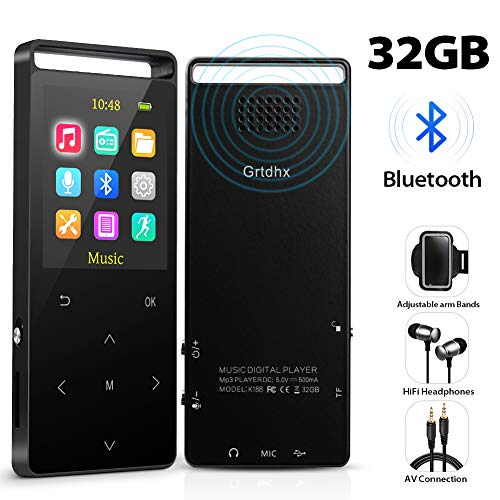 MP3 Player,32GB MP3 Player with Bluetooth,Portable Bluetooth Lossless MP3 Music Players, Digital Audio Music Player with FM Radio/Voice Recorder, Expandable up to 128G by TF Card ()