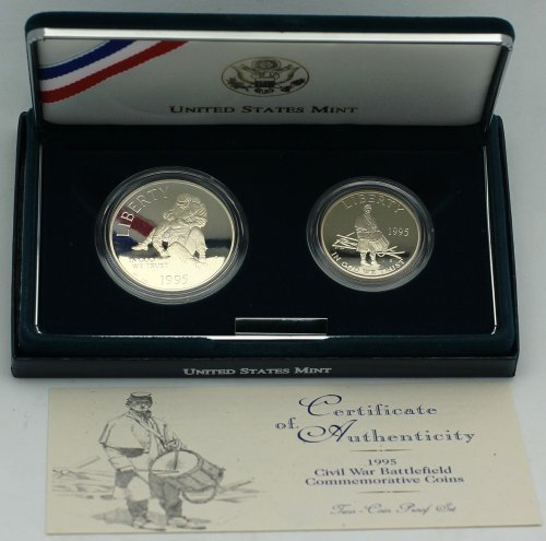 War Commemorative Half Dollars - 1995 Civil War Battlefield 2-Coin Commemorative Proof Set - Silver Dollar & Clad Half