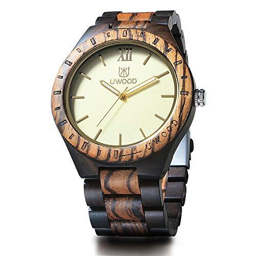 Wood Wrist Watch,BIOSTON Natural Handmade Ebony and Zebra Watch Wooden,Gold Luxury Design Wood Watches Men ()