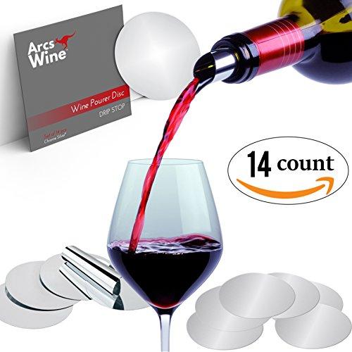 Arcs Wine Pourer Disc Set of 14 - Best Drip Stop Pour Spouts - Thin Flexible and Reusable Drop Stop Disks (Purse With Wine Spout compare prices)