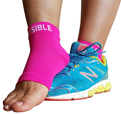 Plantar Fasciitis Compression Socks - Foot Care Sleeves - BeVisible Sports - Best for Heel, Arch & Ankle Brace Support - Boosts Circulation, Aids Relief & Fast Recovery - (Neon Pink, Large) by BeVisible Sports