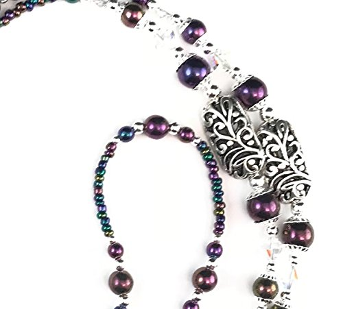 Handmade Swarovski Crystal Beaded Bracelet (Beaded Lanyard~Deep Purple Metallic~Swarovski Crystal)