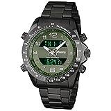 INFANTRY Mens Luminous Military Analog Digital Sport Quartz Watch with Black Stainless Steel Strap