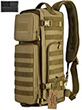 ArcEnCiel Tactical Sling Bag Pack Military Shoulder Backpack EDC Molle Assault Range Bags Day Packs with Patch (Coyote Brown)