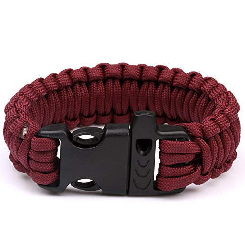 UPC 701392264529, 550Paracord Parachute Cord Strong Power Compiled Bracelet Emergency Military Survival Whistle Plastic Buckle Camping Wristband Rope (Maroon)HW120