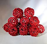 2 Packages Olivia Handmade Decorative Spheres of 6-Red Twig Grapevine Vase Fillers Balls Ornament Decoration Bowl Filler Great For Crafting 2.25 inches-12 Total Balls