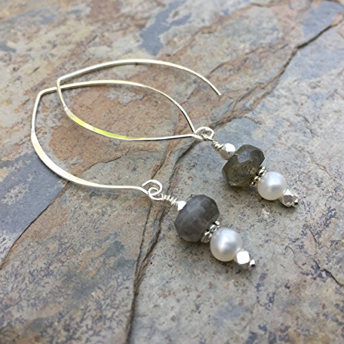 Labradorite and Pearl Earrings on Sterling Silver Hoops, 2 inches long