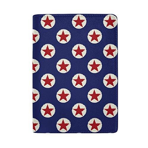 ColourLife Stars Polka Dot On Blue Leather Passport Holder Passport Cover Wallet