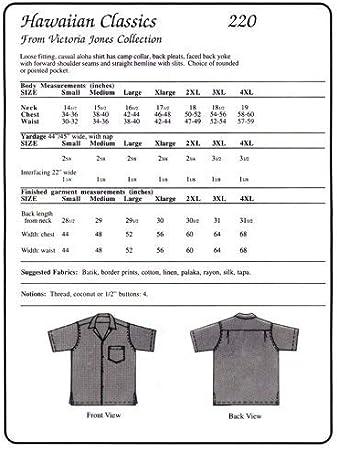 Men's Classic Hawaiian Aloha Shirt Sewing Pattern #220