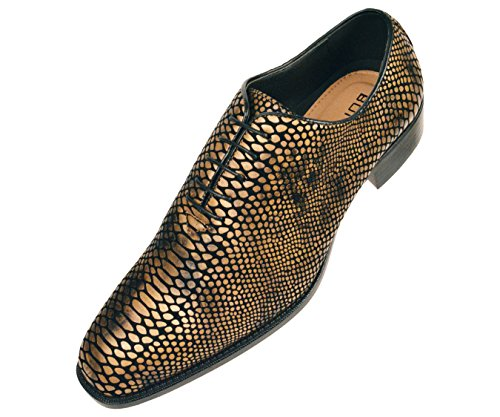 (Bolano Mens Exotic Faux Snake Skin Print Oxford Dress Shoe: Style Seabrook Gold)