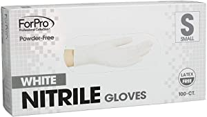 ForPro White Nitrile Gloves, Powder-Free, Latex-Free, Non-Sterile, Food Safe, 4 Mil, Small, 100-Count