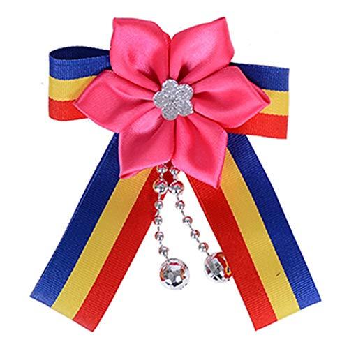 Women Blouse Bow Tie Necktie Striped Ribbon Pendant Shirt Collar Tie Brooch | StyleID - #114