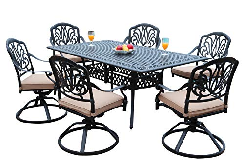 GrandPatioFurniture.com CBM Patio Elisabeth Collection Cast Aluminum 7 Piece Dining Set with A Rectangle Table 6 Swivel Rockers SH226-6S cbm1290 ()