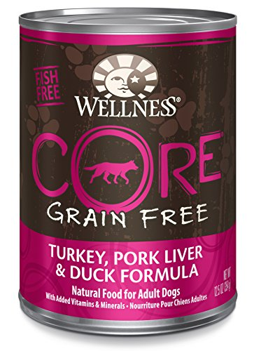 [Wellness CORE Natural Wet Grain Free Canned Dog Food, Turkey, Pork Liver & Duck, 12.5-Ounce Can (Pack of 12)] (Pork Liver)