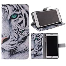 iPhone 6 Wallet Case, Jenny Shop Fashion Style PU Leather Stand Feather with 2 Built-in Card Slots, Money Pocket Flip Cover Magnetic Closure Cover Case for Apple iphone 6 4.7 Inch (White Tiger with Green Eye)