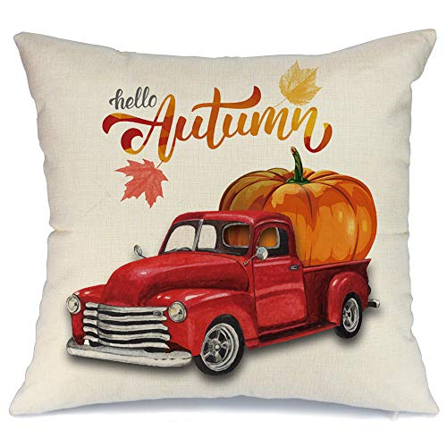 AENEY Fall Red Truck and Pumpkin Throw Pillow Cover 18 x 18 for Couch Vintage Fall Decorations Farmhouse Home Decor Autumn Thanksgiving Decorative Pillowcase Faux Linen Square Cushion Case for Sofa