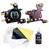 Dragonhawk 2pcs Coils Tattoo Machine Liner Shader 4oz Super Stencil 10pcs Transfer Papers (Machine Stencil)