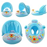 Gbell 66CM Swimming Rings - Paddling Pool Inflatable Small Swim Rings With Sunshade Cover For Toddler Baby Boys Girls Kids 6+ (Blue)