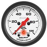 AutoMeter 5752 Phantom Electric Oil Pressure Gauge 2-1/16 in. White Dial Face Fluorescent Red Pointer Black Bezel White Incandescent Lighting 0-100 PSI Phantom Electric Oil Pressure Gauge