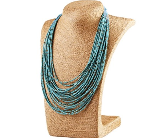 Nataliya Collar Statement Necklace (Blue Water Bead Multi Layer Necklace) by Nataliya
