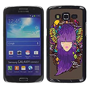 Design for Girls Plastic Cover Case FOR Samsung Galaxy Grand 2 Purple Hair Angel Wings OBBA