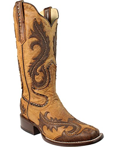 Corral Mujeres Overlay And Studs Cowgirl Bota Square Toe Tan 8.5 M