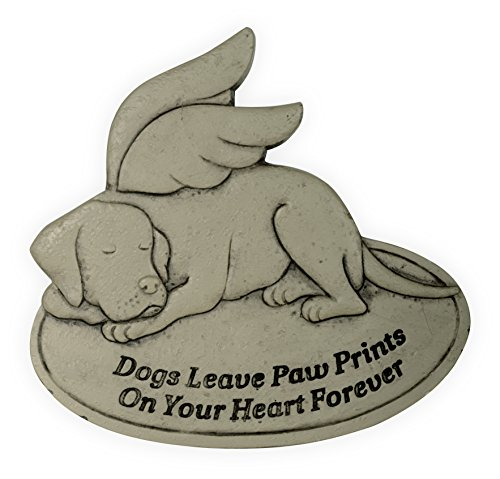 AngelStar Dogs Leave Paw Prints on Your Heart Forever Pet Memorial Garden Stone Décor, Light Brown (Dogs Leave Pawprints On Our Hearts Stone)