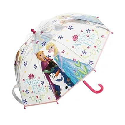 Oficial de Disney Frozen Anna Elsa paraguas niños escuela burbuja paraguas transparente