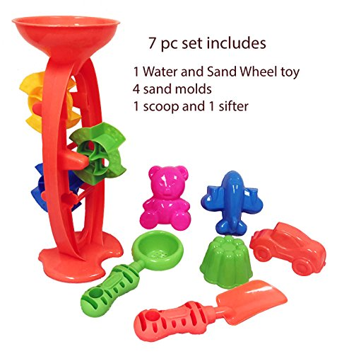 Charmed Triple Wheel Sand and Water Toy Set with Sifter, Scoop and Sand molds. Colors May Vary (Sand Wheel)