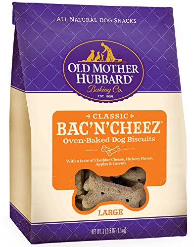 Old Mother Hubbard Classic Crunchy Natural Dog Treats, Bac'N'Cheez Large Biscuits, 3.3-Pound Bag (Dental Biscuits)