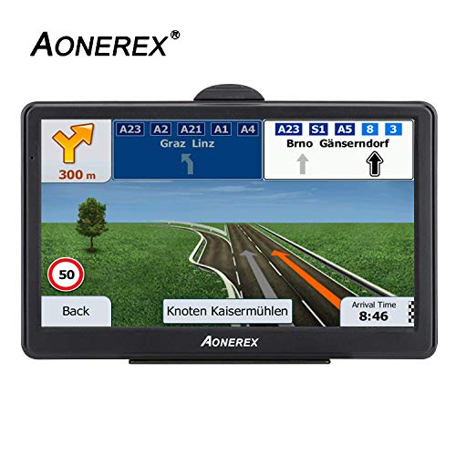AONEREX GPS Navigation [2019 Upgraded Version] 7inch HD Capacitive Touch Screen, [2019 Upgraded Version] Voice Trun-by-Turn Route Guidance, Speed Limit Reminder Free Lifetime Map Update