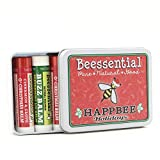 Beessential Natural Lip Balm Holiday Christmas Gift Tin, Cinnamon & Peppermint, 5 Pack - Heals and Prevents Dry and Chapped Lips - Great for Men, Women, and Children