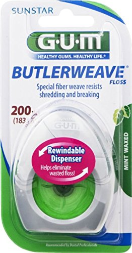 GUM Butlerweave Floss Mint Waxed 200 yd (Pack of 12)