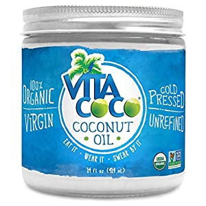Vita Coco Organic Virgin Coconut Oil - Non GMO Cold Pressed Gluten Free Unrefined Oil - Used For Cooking Oil - Great for Skin Moisturizer or Hair Shampoo - 14 Oz Glass Jar