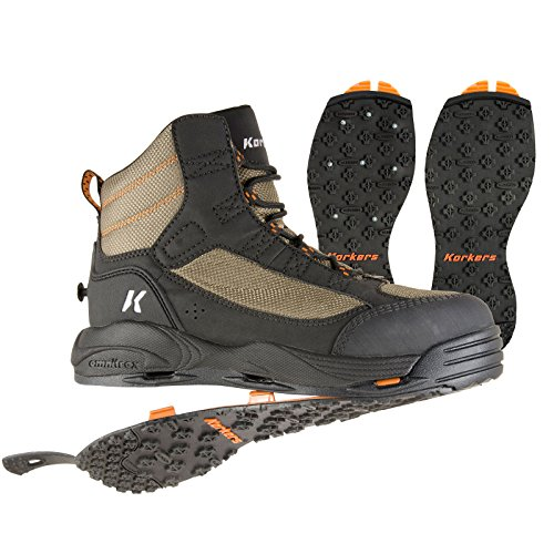 Korkers Greenback Wading Boot with Kling-On & Studded Kling-On Soles, Dried Herb/Black, Size 12 For Sale