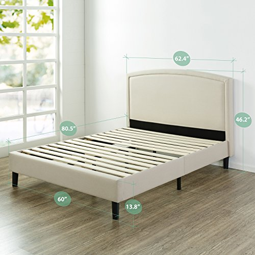 Zinus Upholstered Arched Platform Bed with Wooden Slat Support, Queen
