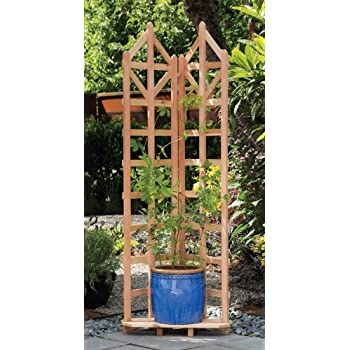 Arboria Deco Garden Trellis Cedar Wood 70 Inch Height Freestanding With  Integrated Base For Pots