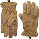 Isotoner Men's Brushed Microfiber Gathered Wrist Gloves, Luggage, LG