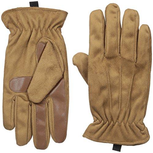 Isotoner Men's Isotoner Men's Brushed Microfiber Gathered Wrist Gloves, Luggage, XL