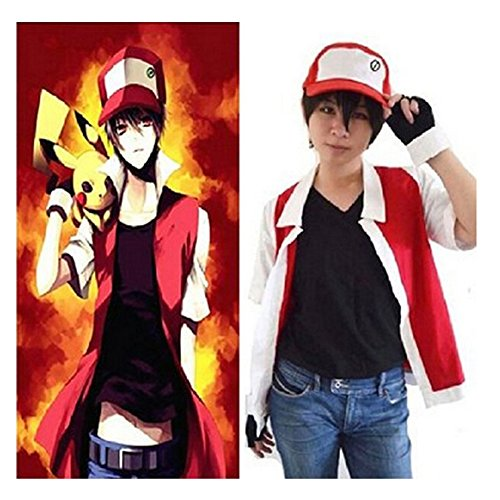 Topme Adult Pokemon Ash Ketchum Cosplay Costume Set Red M ()