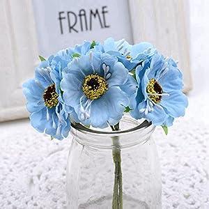 12Pcs/Lot 14Colors Silk Cherry Blossoms Small Artificial Poppy Bouquet Wedding Decoration Mini Rose Flowers For DIY Scrapbooking Sky Blue 43