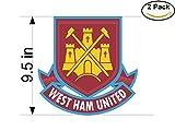West Ham United FC United Kingdom Soccer Football Club FC 2 Stickers Car Bumper Window Sticker Decal Huge 9.5 inches