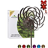 Solar Wind Spinner Multi-Color Seasonal LED Lighting Solar Powered Glass Ball with Kinetic Wind Spinner for Outside - Vertical Metal Sculpture Stake Construction for Outdoor Yard Lawn & Garden