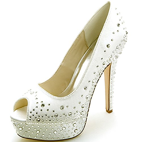 With Satin Size Glitter Straps 17a Ivory Shoes Pumps Bridal 7 Peep 4 Szxf3128 Wedding Heels Uk Uk Rhinestone Sarahbridal Girls Toe Dresses 6q7gExwP
