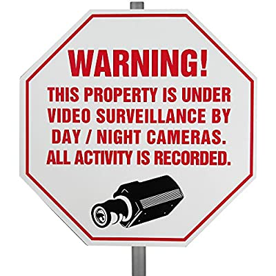 CCTV Plastic Weather Resistant Surveillance Security Warning Yard Sign w/ Stake by The Home Security Superstore