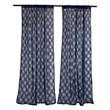 DII Sheer Lace Decorative Curtain Panels For Bedroom, Living Room, Guest Room, or Formal Sitting Areas, Light & Airy To Filter Sunlight Into Room, (Set of 2, 50 x 84″) Nautical Blue Lattice For Sale